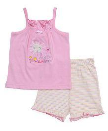 Babyhug Singlet Printed Top With Shorts - Pink