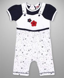Babyhug Floral Patch Dungaree With Inner Top - Navy Blue White