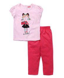 Babyhug Short Sleeves Night Suit Set Cute Print - Pink