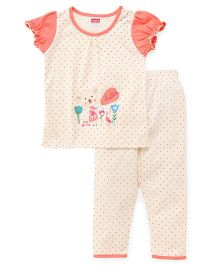 Babyhug Short Sleeves Night Suit Polka Dot Print - Off White & Coral