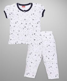 Babyhug Front Open Night Suit Allover Print - White Black
