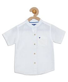 612 League Half Sleeves Solid Woven Shirt - White