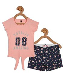 612 League Short Sleeves Top And Shorts Text Print - Peach Blue