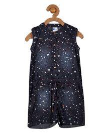 612 League Sleeveless Denim Jumpsuit Star Print - Blue