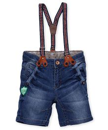Little Kangaroos Denim Shorts With Suspenders - Light Blue