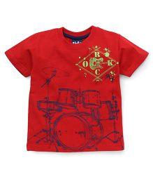Play by Little Kangaroos Half Sleeves Drum Print - Red