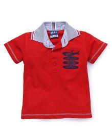 Little Kangaroos Half Sleeves Collar Neck T-Shirt - Red