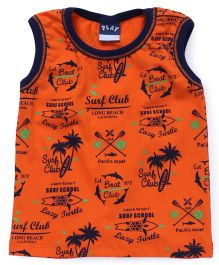 Play by Little Kangaroos Sleeveless Printed T-Shirt - Burnt Orange