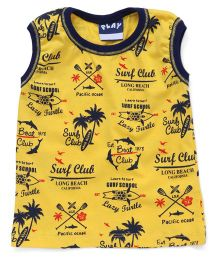 Play by Little Kangaroos Sleeveless Printed T-Shirt - Yellow