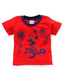 Little Kangaroos Half Sleeves T-Shirt Tree Print - Red