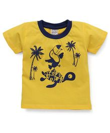 Play by Little Kangaroos Half Sleeves T-Shirt Tree Print - Yellow