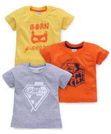 Little Kangaroos Half Sleeves T-Shirt Set of 3 - Grey Yellow Orange