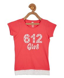 612 League Half Sleeves Printed With Lace Detailing Top - Red