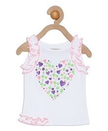 612 League Sleeveless Top Heart Design - White