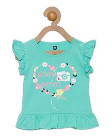 612 League Ruffle Sleeves Top Picture Perfect Print - Sea Green