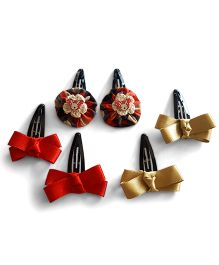 Soulfulsaai 3 Pairs Of Cross Snap Clips - Red & Gold