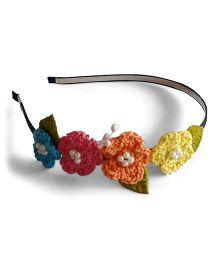 Soulfulsaai Crochet Flowers Design Hair Band - Multicolour