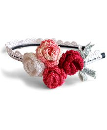 Soulfulsaai Rose & Glittery Bow Design Hair Band - Pink & Silver