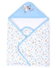Pink Rabbit Helicopter Print Hooded Wrappers - Light Blue and White