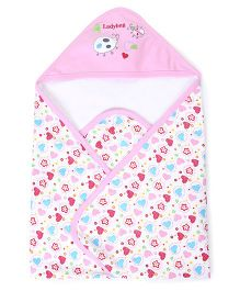 Pink Rabbit Ladybird Flower and Heart Print Hooded Wrappers - Light Pink and White