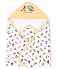 Pink Rabbit BigWheels Truck Print Hooded Wrappers - Yellow and White