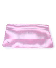 Pink Rabbit StripeTowel & Wrappers Pink and White - 75 cm