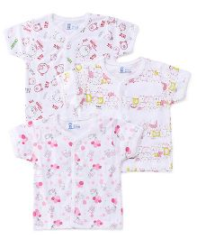 Pink Rabbit Half Sleeves Vests Printed Set Of 3 - White Pink