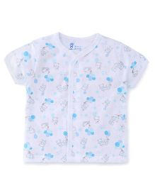 Pink Rabbit Half Sleeves Vest Printed - White Blue