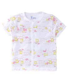 Pink Rabbit Half Sleeves Vest Printed - White Pink Yellow