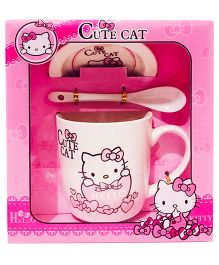 Li'll Pumpkins Cute Cat Mug Set - Pink & White