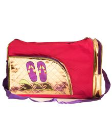 Li'll Pumpkins Slipper & Wave Applique Duffel Bag - Gold & Pink