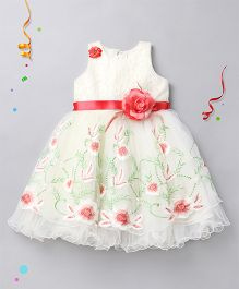 Babyhug Sleeveless Embroidered Lace Party Wear Frock - Cream