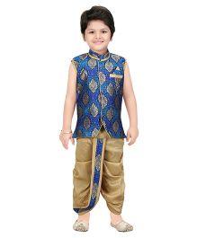 Shree Shubh Brocade Ethnic Dhoti Kurta Set - Blue Beige