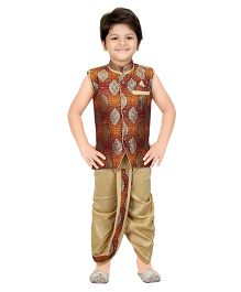 Shree Shubh Brocade Ethnic Dhoti Kurta Set - Brown Beige