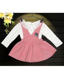 Aww Hunnie 2 Piece Mushroom Applique Dress With Inner Tee - Pink