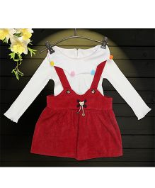 Aww Hunnie 2 Piece Bear Applique Dress With Inner Tee - Red