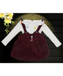 Aww Hunnie 2 Piece Bear Applique Dress With Inner Tee - Wine
