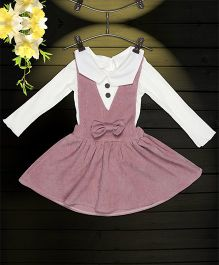 Aww Hunnie 2 Piece Bow Applique Dress With Inner Tee - Pink