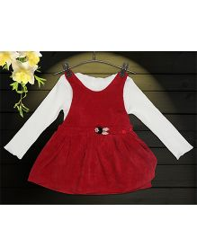 Aww Hunnie 2 Piece Dungree Dress With Inner Tee - Red