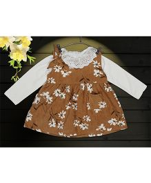 Aww Hunnie 2 Piece Floral Printed Dress & Side Pocket With Inner Tee - Camel