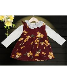 Aww Hunnie 2 Piece Floral Printed Dress & Side Pocket With Inner Tee - Wine