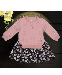 Aww Hunnie 1 Piece Sweat Shirt Attached Illusion Dress - Mauve
