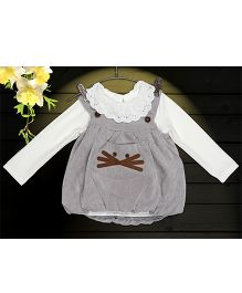 Aww Hunnie 2 Piece Whiskers Applique Dress With Inner Tee - Grey