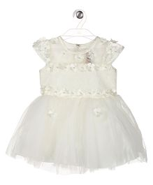 Aww Hunnie Fit & Flare Floral Applique Dress - White