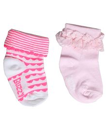 Buzzy Socks Diamond Design And Plain With Lace Set Of 2 Pair - Pink Neon Pink