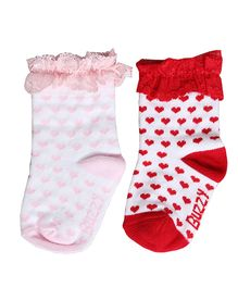 Buzzy Socks Hearts Design With Lace Set Of 2 Pair - Pink White Red