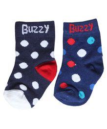 Buzzy Socks Polka Dots Design Set Of 2 Pair - Blue Black