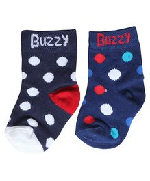 Buzzy Socks Polka Dots Design Set Of 2 Pair - Blue Black