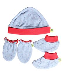 Buzzy Cap Mittens And Booties Set Printed - Grey Red
