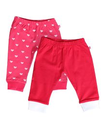 Buzzy Full Length Track Pants Set Of 2 - Red Pink